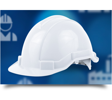 A hard hat image used to demonstrate time clock system reviews and use cases